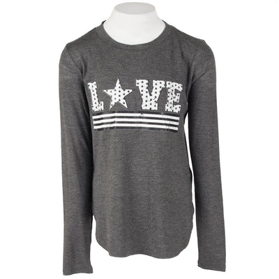 Long Sleeve Banded Top with Love Stripe Stars