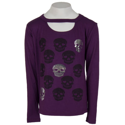 Long Sleeve Cut Out with Foil Skulls