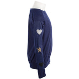 Long Sleeve Top with Glitter Heart Star Heart On Sleeves