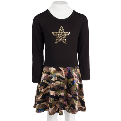 Long Sleeve Camo Multi Velvet Dress with Gold Star