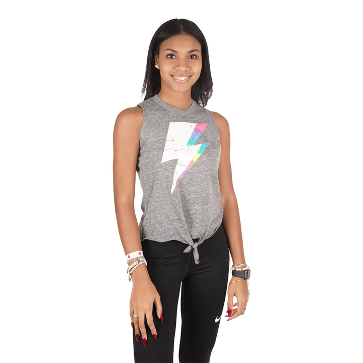 White Lightning Bolt Tie Front Muscle Tank