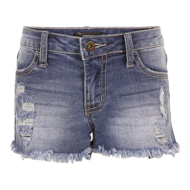 Denim Fray Short with Destruction