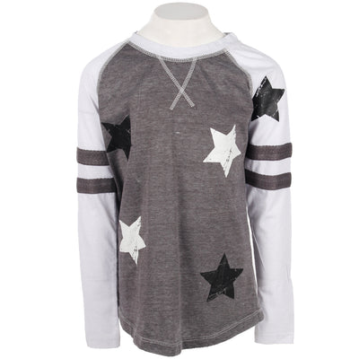 Long Sleeve Varsity Baseball Top with Scattered Stars