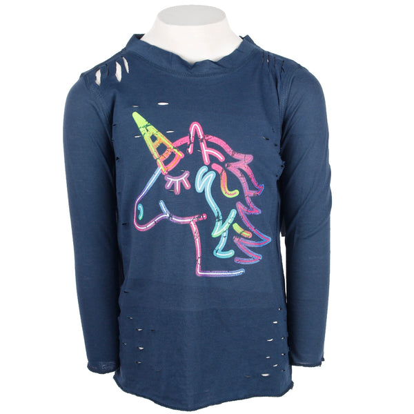 Long Sleeve Cutouts Top with Unicorn
