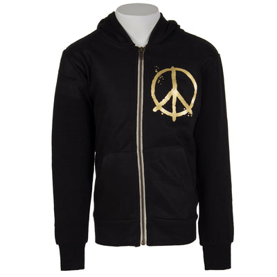 Zip Hoody Drippy Peace Sign Pocket Peace Back