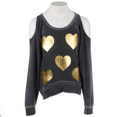 Cold Shoulder Hi Lo with Gold Hearts All Over
