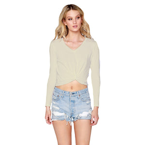 Knot Front Long Sleeve V-neck