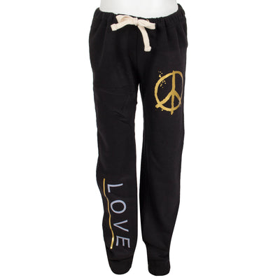 Sweatpant with Hip Peace Sign and Right Leg Love