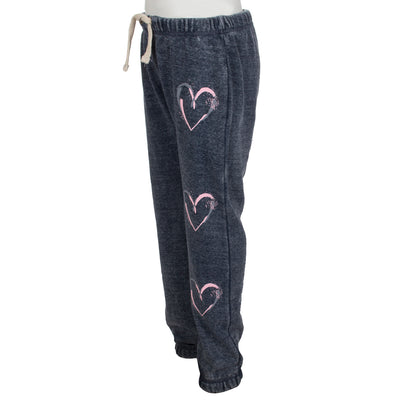 Sweatpant with Three Brush Stroke Hearts Down Leg