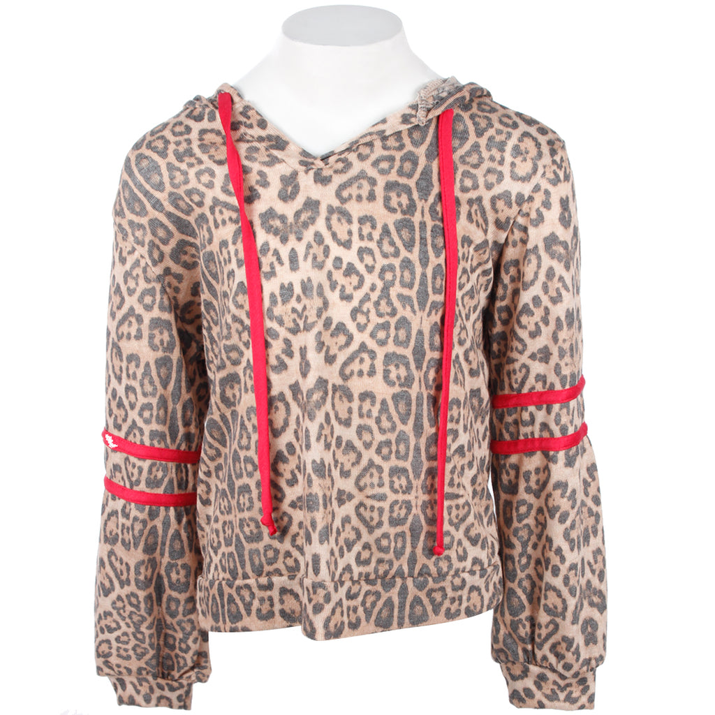 a948af36e Leopard Hoodie With Red Trim On side And Arm – Denny's