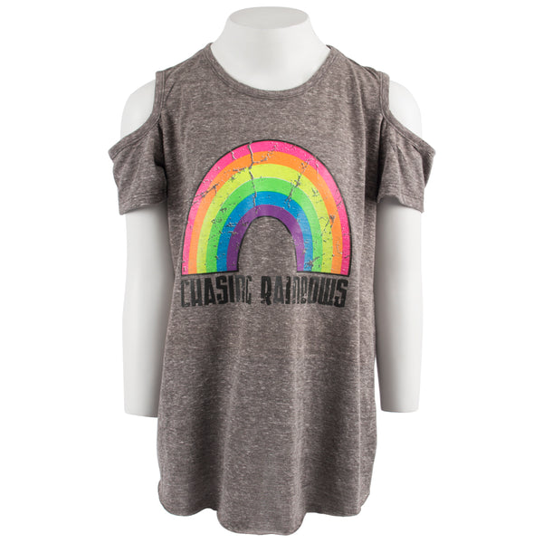 Short Sleeve Cold Shoulder with Chasing Rainbows