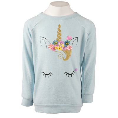 Long Sleeve Hacci Top with Unicorn Face