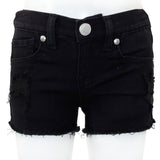 Five Pocket Denim Shorts with Rips and Fray Edge