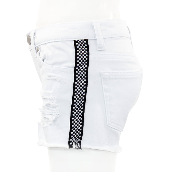 Denim Short with Checkered Taping