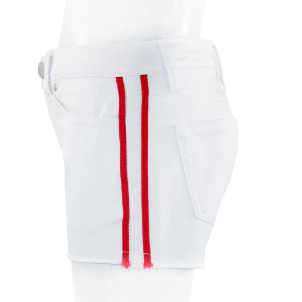 Denim Short with Red Stripes