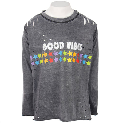 Long Sleeve Cutouts Top with Good Vibes and Primary Stars