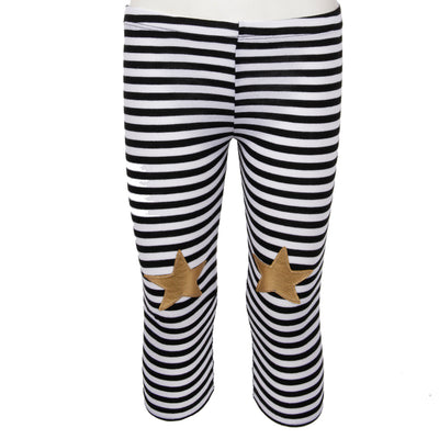 Striped Legging with Gold Star Knees