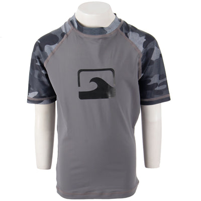 Short Sleeve Wave Camo Color Block Rashguard