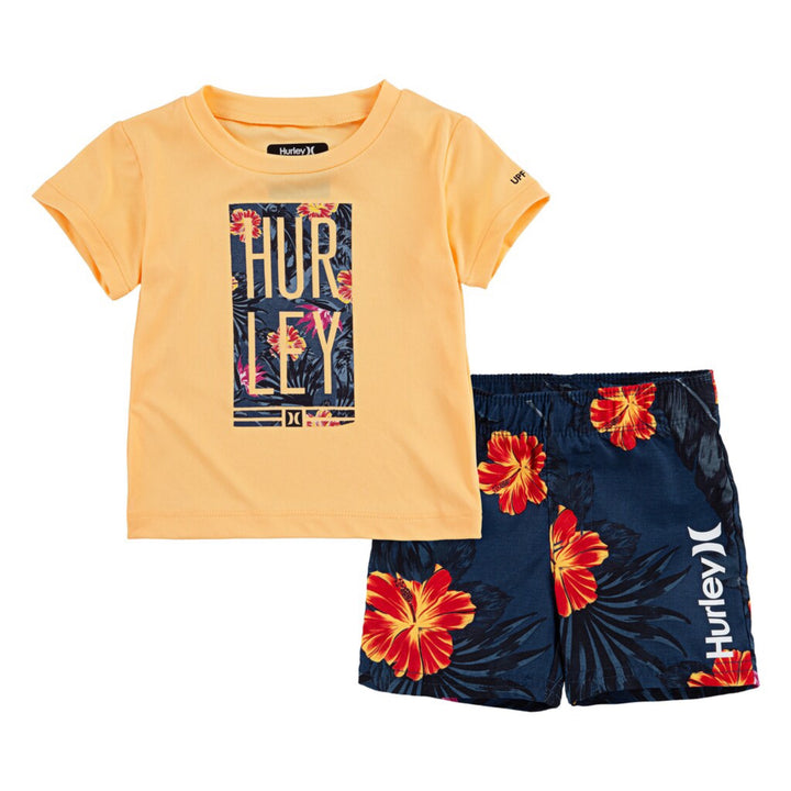 2pc Swim Trunk n Tee Military Floral