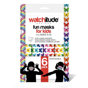 Rainbow and Butterflies 6pk Disposable Masks