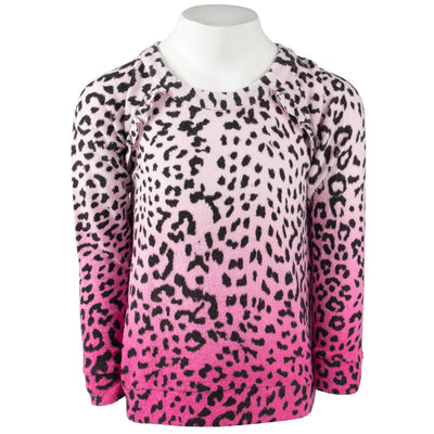 Long Sleeve Leopard Hacci Top with Dip Dye
