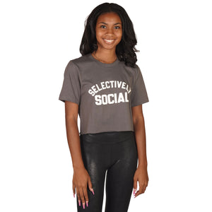 Short Sleeve Crop Selectively Social Tee