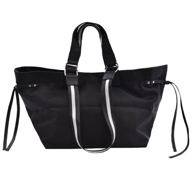 Large Cinched Tote Black Silver Star Strap