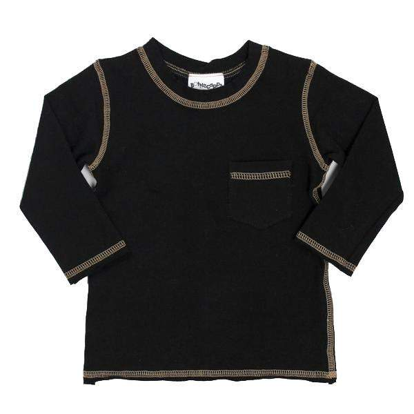 Long Sleeve Tee Black with Tan Stitching