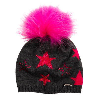 Star Hat Tipped Fur Grey Fuschia Crystal