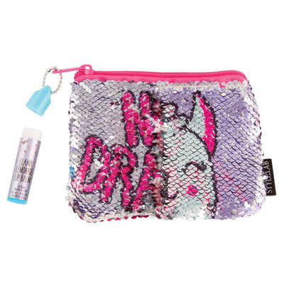 Llama No Drama Magic Sequin Lip Balm & Mini Cosmetic Bag