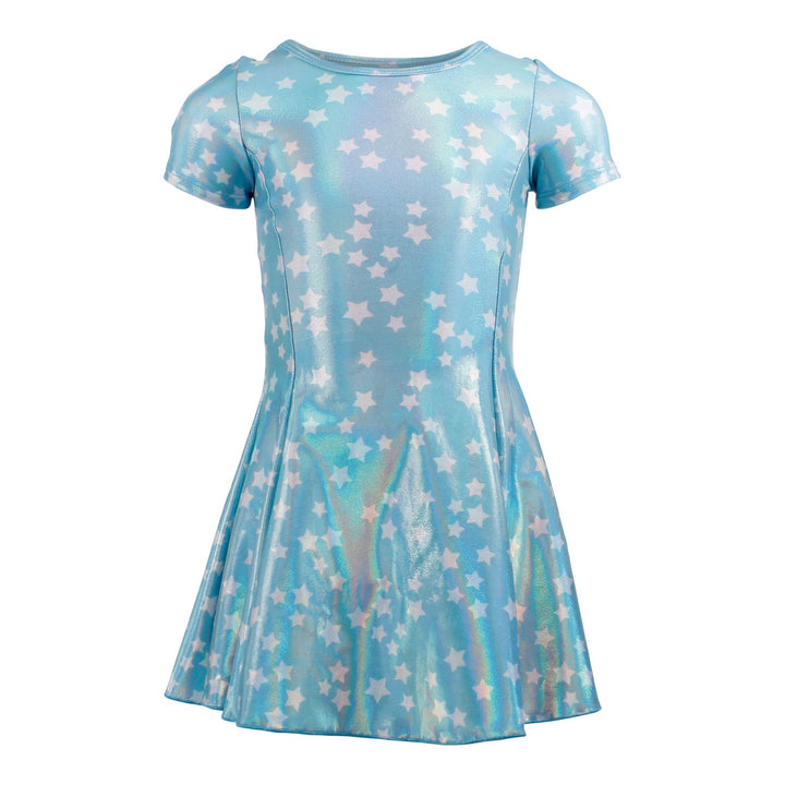 Short Sleeve Fit n Flare Dress w Stars Sparkle