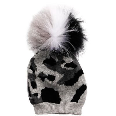 Camo Hat with Grey White & Black Pom - Fits Sizes 7-14