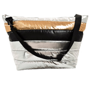 Silver and Gold Puffer Weekender Bag