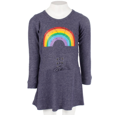 Hacci Long Sleeve Dress Tie Lace Up with Rainbow