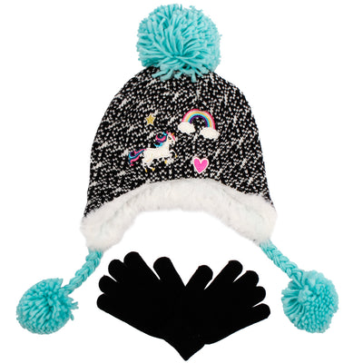 Star Rainbow Unicorn Earflap Hat Glove Set