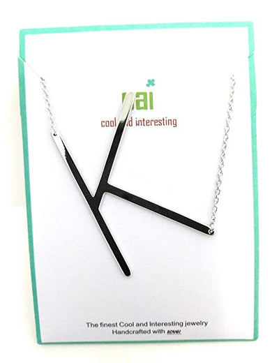 Silver Necklace with K initialed Sideways