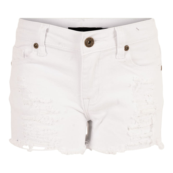 White Destruction Denim Short