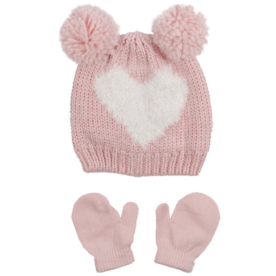 Todler Knit Hat and Mitten with Double Heart Pom