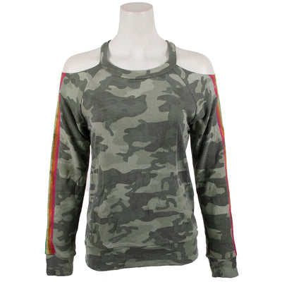 Camo Cold Shoulder with Stripe Sweatshirt