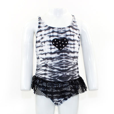 One Piece Tie Dye with Mesh Ruffle with Black Studded Heart