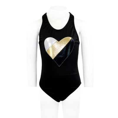One Piece Silver Gold Black Heart