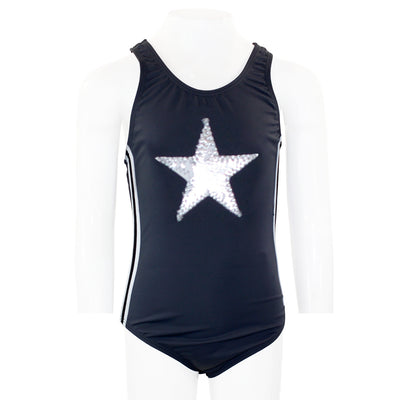 One Piece Bathing Suit with Athletic Side Taping and Silver Star