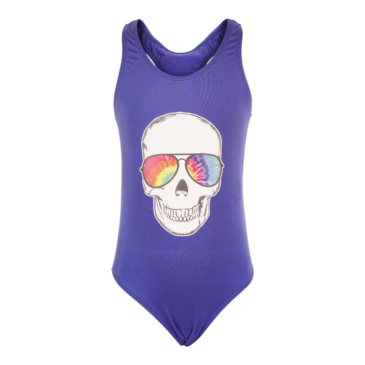 1pc Swimsuit with Skull Sunglasses