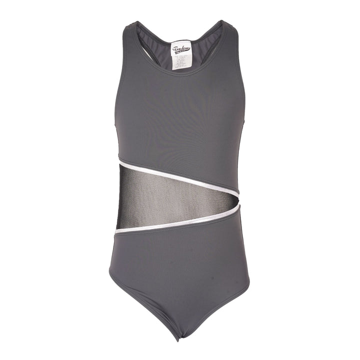 1pc Bathingsuit With Mesh Middle And Silver Piping