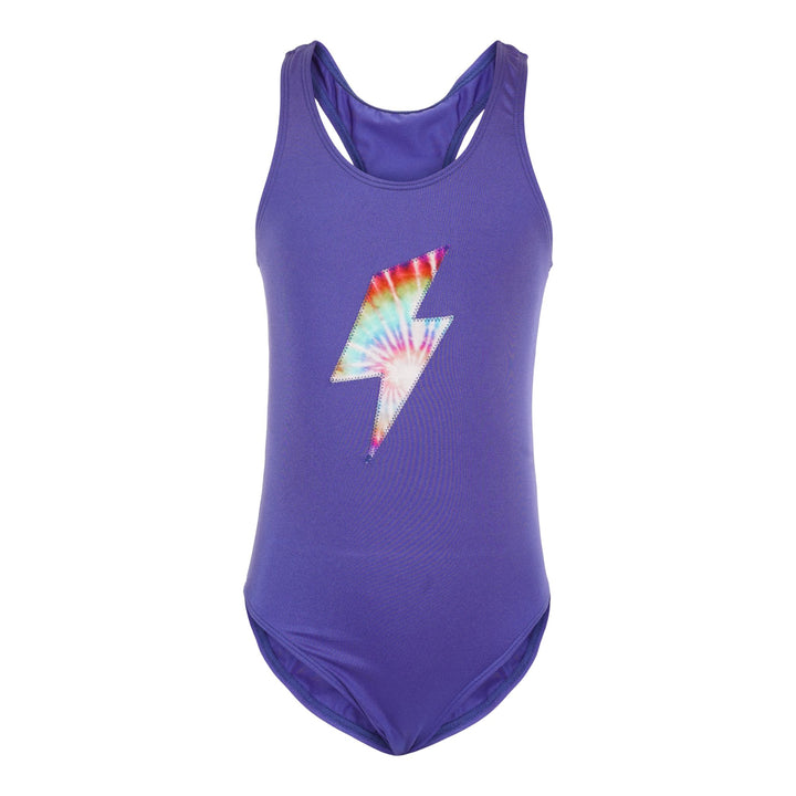 1pc Swimsuit with Tie Dye Lightning Bolt
