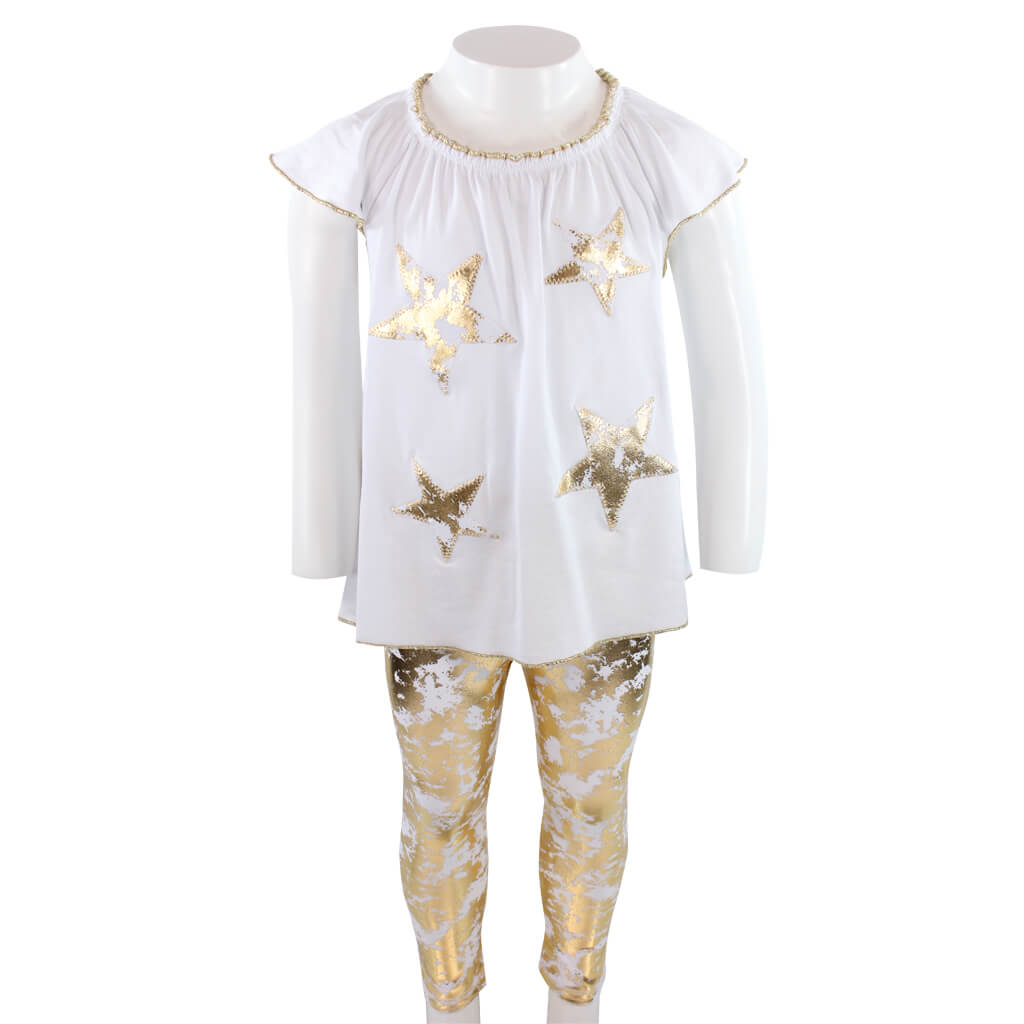 Two Piece Set Gold Wave Legging with Star Top