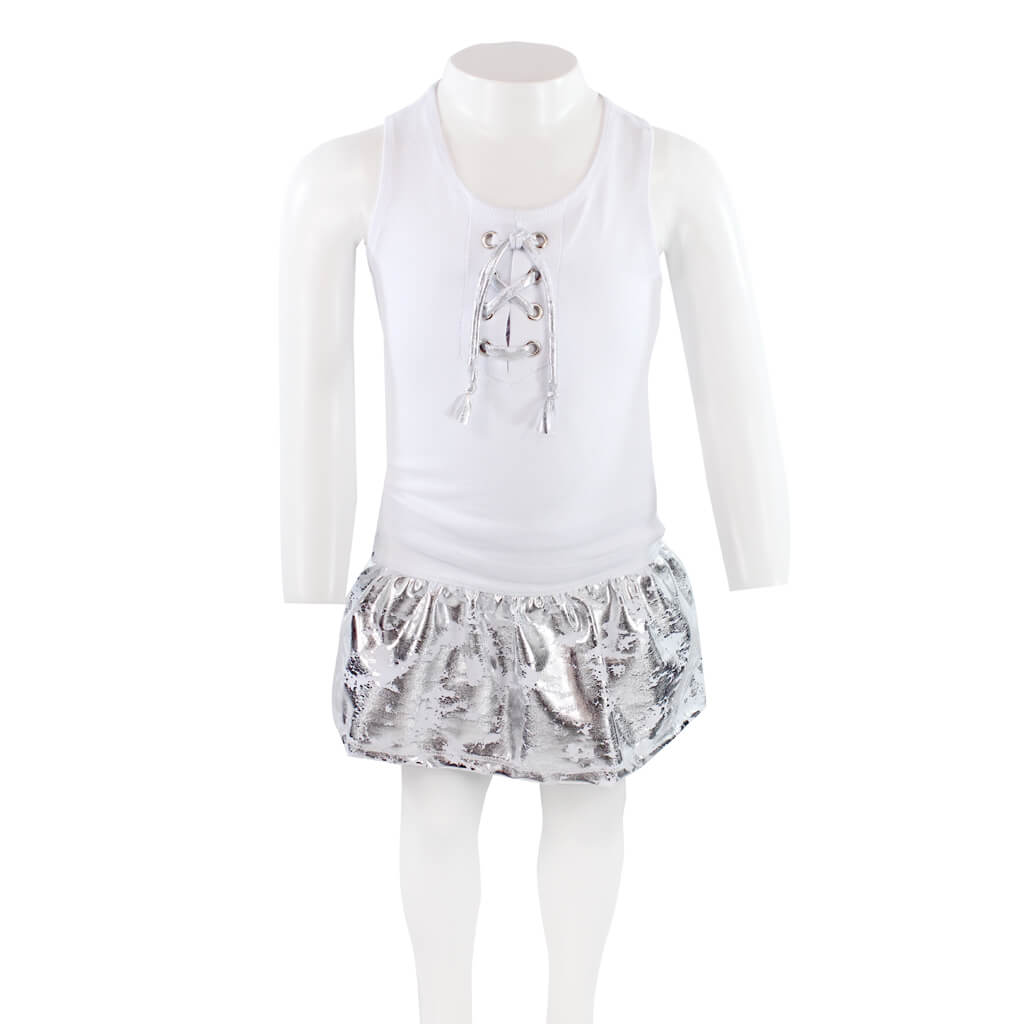 Two Piece Set Skort Silver with Lace Up Tank