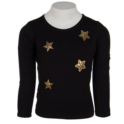 Long Sleeve Black Tee with Gold Stars