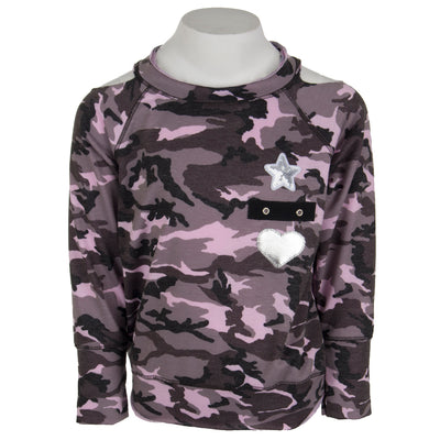 Cold Shoulder Camo Sweatshirt