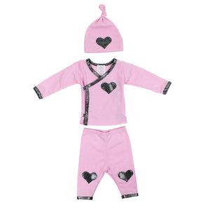 3pc Set Pink with Snakeskin Heart